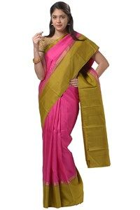 #Kalanjali Exclusive #Kanchipattu#saree #Growing pinkish plain kanchi pattu saree is enhanced with trendy contrasting yellow-black woven tiny checks immense border and pallu. Available contrast blouse.