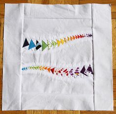 Cute Rainbow Flying Geese Block  ...that looks more terrifying/intimidating than cute.