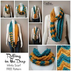 This stunning infinity scarf uses bold contrasting colors along with a contrasting pattern to create a fun and functional fall accessory. You can use any two colors you like, think opposite (or near opposite) on the color wheel.