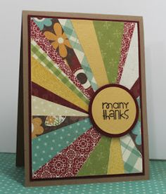 Four Wise Guys: Sunburst Card Tutorial great use for leftovers