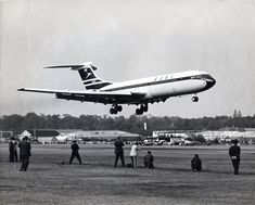 After a first flight conducted entirely within the confines of the county of Surrey, the first ever Vickers Standard VC10 (Series 1100) G-ARTA (c/n: 803) arrives at Wisley airfield from Brooklands, on 29 June 1962.