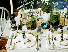 gorgeous forest themed table setting