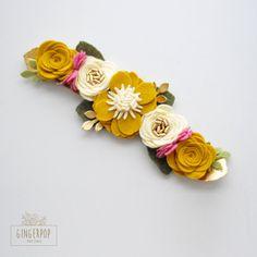 Fieltro flor corona corona de flores amarillo oro rosa