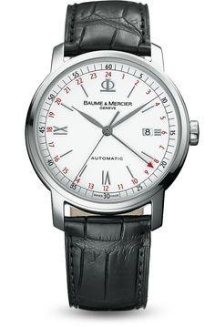 Découvrez la montre cuir à double fuseau horaire pour homme Classima 8462, conçue par Baume et Mercier, manufacture de montres suisses.