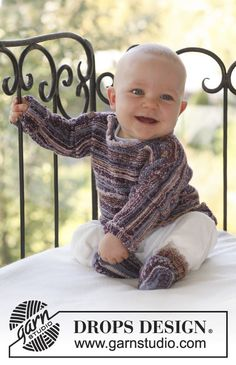Ferdinand / DROPS Baby - Set of knitted jumper and socks for baby and children in DROPS Fabel Baby Knitting Patterns, Crochet Patterns, Drops Design, Crochet For Boys, Knitting For Kids, Free Knitting, Häkelanleitung Baby, Baby Kind, Ferdinand