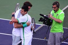 Juan Martin Del Potro and Novak Djokovic embrace after their semfinal at Indian Wells. Del Potro won 4-6,6-4,6-4 : http://twitter.yfrog.com/nw76950183j Shared by ByJoeFleming