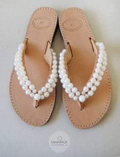 fdd755fdca5e Bridal leather sandals by Marmade - Handmade leather flip flops decorated  with pearls