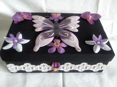 Handcrafted Keepsake/Trinket Box made with Metal Butterfly & Rayon Fabric, Lace Border, Crafted Flowers & Pearl like Beads. Size: x x Item Purple Butterfly, Lace Border, Keepsake Boxes, Flower Crafts, Selling On Ebay, Trinket Boxes, Small Gifts, Gift Wrapping, Beads