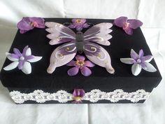 Handcrafted Fabric & Mental Purple Butterfly Keepsake Box / Trinket Box