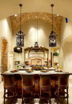 Tuscan kitchen design immediately conjures images of Italy and sunlight and warmth. In fact these kinds of images are just what you need to think of when coming up with the perfect Tuscan kitchen design. Tuscany a region in north… Continue Reading → Tuscan Kitchen Design, Tuscan Design, Tuscan Style, Kitchen Designs, Layout Design, Design Ideas, Design Art, Kitchen Lighting Fixtures, Light Fixtures