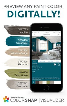 Cozy up in some new bedroom colors. All you need besides your imagination is ColorSnap® Visualizer for mobile. Try on more than 1,500 Sherwin-Williams paint colors in room scenes like this, build palettes, share with friends and change your entire outlook with color. Get the app today.