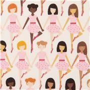Tissu écru avec des danseuses de ballet, Kokka, Tiny Dancer