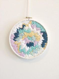 Pastel Explosion Woven Wall Hanging Weaving by PersnicketyStudio on Etsy. Weave. Weaving. Wall Decor. Tapestry. Loom. Wallhanging. Woven Tapestry. Handmade. Wool Yarn, Acrylic Blend Yarns.