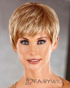 Attractive Short Straight Blonde 8 Inch Human Hair Wigs