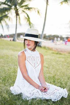 Nicole Warne in Zimmermann dress, Eugenia Kim hat - Oahu, Hawaii.  (December 2014)