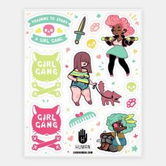 Pump iron and flex those sweet sassy muscles with this Training To Start A Girl Gang Design! Featuring a cute pumped up greaser gang girls to start your very own fem fatal fighters. | Beautiful Designs on Stickers, Sticker Sheets and Vinyl Stickers with New Items Every Day. Satisfaction Guaranteed. Easy Returns.