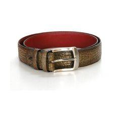 PAUL PARKMAN Men's Crocodile Embossed Leather Belt Hand-Painted Cobalt... (12.050 RUB) ❤ liked on Polyvore featuring men's fashion, men's accessories, men's belts, men and mens belts