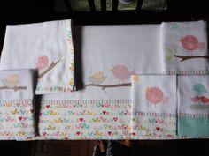 Enxoval de bebe - Kit passarinhos, toalha fralda, fralda de ombro, babeiro, lençol de carrinho ou mini berço e fronha Confeccionado por Maete Atelier www.facebook.com/maete.atelier teresi@globo.com