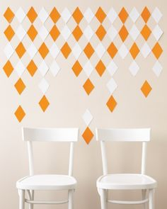 Interesting way to incorporate color and design. Diamond template from vinyl adhesive back sheets. #marthastewart  For an Urban Affair: A Prismatic Photo Wall
