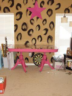 {craft room leopard wall}