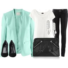 mint blazer by jjosefinr on Polyvore featuring H&M, Giuseppe Zanotti, Karl Lagerfeld, ASOS and Dogeared