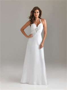 A-line Halter Sweetheart Empire Drape White Floor-length With Beads Prom Dress PD1133 www.simpledresses.co.uk £99.0000