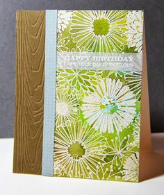 Everything Flower background stamp, SU! Patterned paper, white is embossing, Distress Inks: Walnut Stain, Crushed Olive, Broken China, and Tumbled Glass. cs:  SU! Soft Suede, Amusing Michelle: Summer Card Camp 2