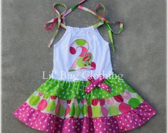 Ice Cream Cone Smocked Dress Ice Cream Social by LilBugsClothing