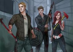 """This isn't a war, Steve, it's aback alley... a back alley with zombies."" ""Zombie AU"" by Vylla on deviantART.com."