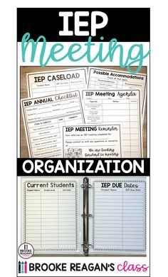 IEP meeting binder is full of everything you need t prep for your IEP meetings for students, parents, and staff.  #IEPmeetings #IEPmeetingprep #IEPMeetingBinder Teacher Comments, Iep Meetings, Special Education, Binder, Parents, Students, Notes, Organization, School