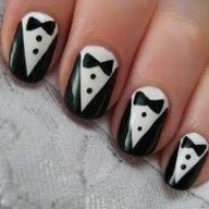 Tuxedo Nail Art. Learn how to do this nail art design.