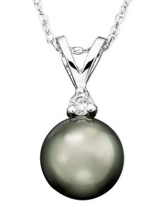 Tahitian Cultured Pearl (8mm) and Diamond Accent Pendant Necklace in 14k White Gold