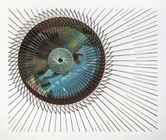 Inertia No. 12, 2013, hand-embroidered paper collage, 19 x 16 inches by US artist Shaun Kardinal