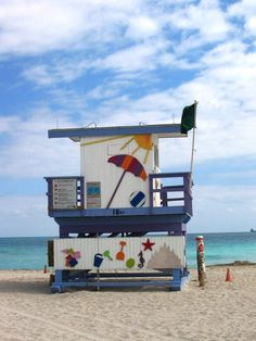 One of the many colorful life guard stands in South Beach