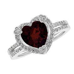 January Birthstone Checkerboard Garnet Heart Silver Ring