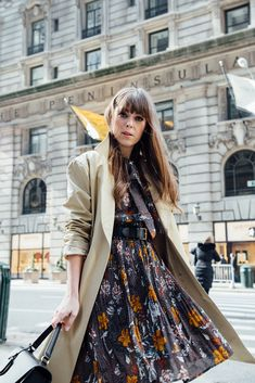 Floral Dress and Trench Coat | Jenny CIpoletti of Margo & Me