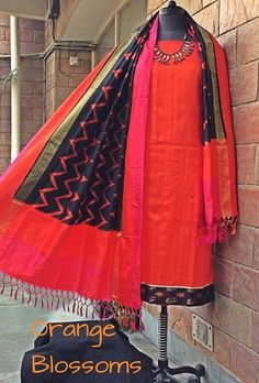 Silk ikat . Available at www.facebook.com/orangeblossomwomensclothing. Silk double Ikat dupatta teamed with a RAWSILK kurta with an Ikat hem