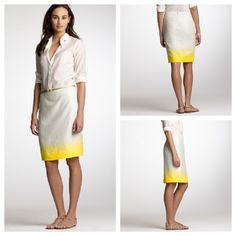 J. Crew Ombré Linen Pencil Skirt J. Crew Ombré Linen Pencil Skirt, Size 4, excellent condition!! Description :A classic pencil-skirt silhouette, in a crisp blend of cotton and linen, overlaid with a subtle but stunning ombre effect. Sits at waist. Back zip. Fully lined. Machine wash. J. Crew Skirts