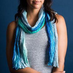 Blue Waves Silk Shibori Scarf