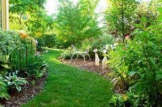 Meandering paths around the gardens.