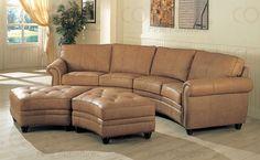 Camel Leather Sectional Sofa U0026 Ottoman Set W/Nail Head Design