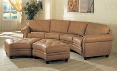 Gorgeous curve leather buckskin color sectional