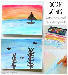 Ocean Art Project for Kids Using Chalk and Tempera Paint~ BuggyandBuddy.com