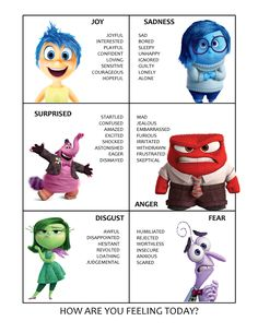 19 Super-Interesting Facts About Pixars Inside Out My sister made a great feelings chart with the inside out characters to help her kids express what theyre feeling better. I feel like adults could totally use this too :) Whats Cookin Sister? Inside Out Emotions, Feelings And Emotions, Inside Out Characters, Inside Out Fear, Feelings Chart For Adults, Inside Out Poster, Sadness Inside Out, Feelings Wheel, Disney Classroom