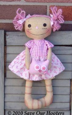 Sewing PDF Epattern Pink Ribbon Rag Doll with by CindysHomespun, $5.50