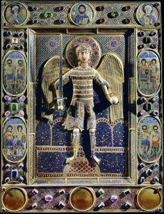 Archangel Michael with sword.12th century. Church San Marco, Basilica, Venice, Italy. Unknown artist.