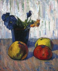 """Meyer Isaac de Haan (Dutch, 1852-1895), """"Still Life with Apples and Vase of Flowers,"""" about 1890; Indianapolis Museum of Art, Gift of Paul Josefowitz in honor of Eli Lilly and Company and Dr. Homer L. Pearce, 2001.349"""
