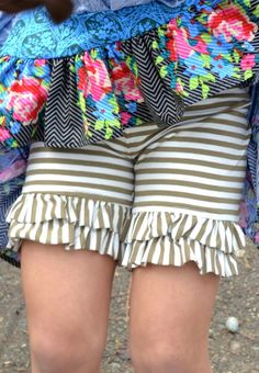 Persnickety | Marley Double Ruffle Shorts - Taupe Stripe Shorties - Forget Me Not - One Good Thread