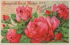 **FREE ViNTaGE DiGiTaL STaMPS**: Free Vintage Printable - Happy Birthday Roses