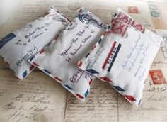 French air mail mini pillows filled with lavender from Aeropostale